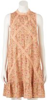 Lauren Conrad Women's Print Lace-Trim Shift Dress