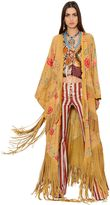Roberto Cavalli Floral Printed Fringed Long Suede Coat