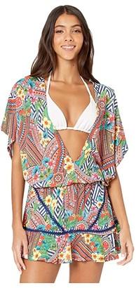 Luli Fama Luli Tribe Playera Stitched V-Neck Ruffle Dress Cover-Up (Multicolor) Women's Swimwear