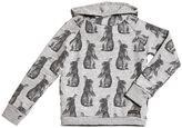 Finger In The Nose Hooded Bunny Printed Cotton Sweatshirt