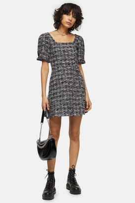 Topshop Womens Boucle Effect Mini Jersey Dress - Monochrome