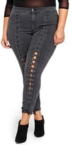 Plus Size Women's Addition Elle Love And Legend Nadia Aboulhosn Lace-Up Denim Skinny Jeans