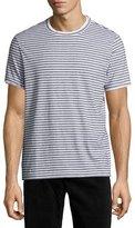Theory Rylee Pima Cotton Double-Edge Striped T-Shirt, White Multi