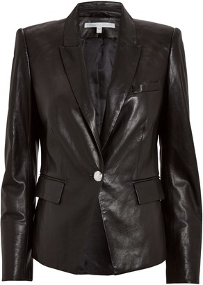 Veronica Beard Danielle Leather Dickey Jacket