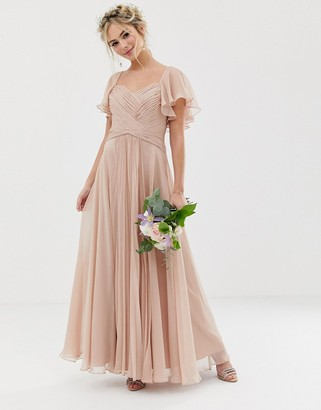 Asos Design DESIGN Bridesmaid pleated bodice maxi dress with flutter sleeve-Pink