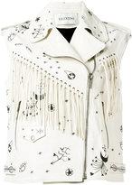 Valentino fringed sleeveless biker jacket