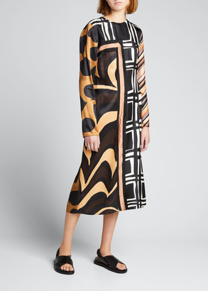 Marni Patchwork Printed Satin Midi Dress