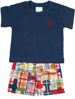 Princess Linens Navy Initial Tee & Red Patchwork Shorts - Infant, Toddler & Boys