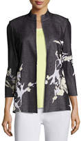 Misook Floral-Print Knit Jacket, Plus Size