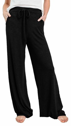 Smile Fish Ladies Casual Pajamas Pants Wide Leg Drawstring Stretchy Long Lounge Pants with Pockets(Black XXL)