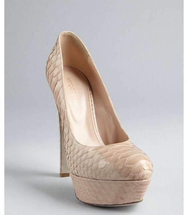 Sergio Rossi natural snakeskin and leather platform pumps