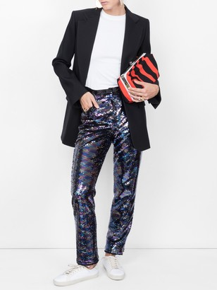 Balmain Sequin Embellished Trousers Blue