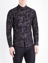 Armani Jeans Camouflage-print cotton-chambray shirt