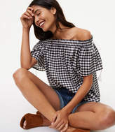 LOFT Gingham Side Tie Off The Shoulder Top