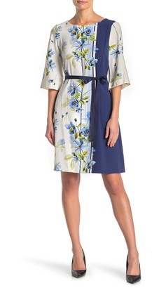 Gabby Skye Elbow Sleeve Floral Crepe Dress