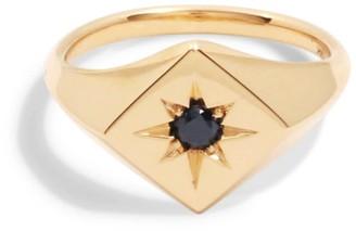 Black Diamond Futaba Hayashi North Star Signet Ring With 14k Yellow Gold