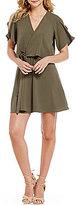 GB Fan Fav Popover A-line V-Neck Cold-Shoulder Wrap Dress
