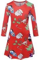 RUIYIGE Womens Girls Christmas Cartoon Print Flared and Fit Swing Dress