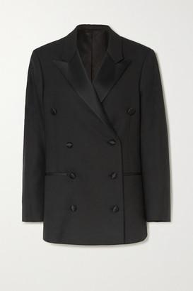 Totême Loreo Oversized Double-breasted Silk Blend-trimmed Twill Blazer - Black