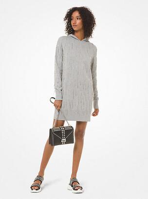 Michael Kors Crystal-Fringed Cotton-Blend Hoodie Dress