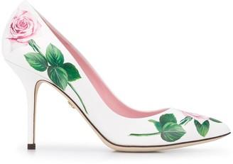 Dolce & Gabbana Rose Print Pumps