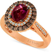 LeVian Le Vian Chocolatier® Raspberry Rhodolite® (1-1/6 ct. t.w.) & Diamond (5/8 ct. t.w.) Ring in 14k Rose Gold