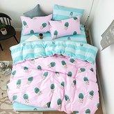 ORoa Simple Cactus Bedding Children's Duvet Cover Set Full Cotton Girl Reversible Bedding Set 3PC (Queen/Full, Style 5)