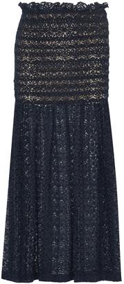 Stella McCartney Smocked Ruffle-trimmed Cotton-blend Lace Maxi Skirt