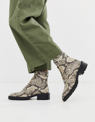 ASOS DESIGN Astrid leather chunky military boots in natural snake