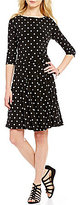Allison Daley Petites 3/4 Sleeve Dot Print Dress