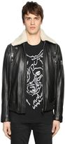 Diesel Leather Jacket W/ Shearling Collar