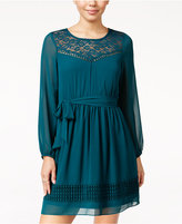 Amy Byer Juniors' Lace-Trim Shift Dress