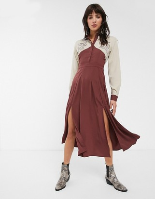Glamorous premium maxi shirt dress with western details