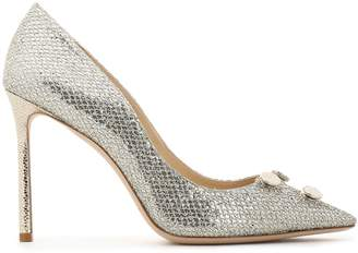 Jimmy Choo Jasmine 100 Embellished Glittered Satin Pumps