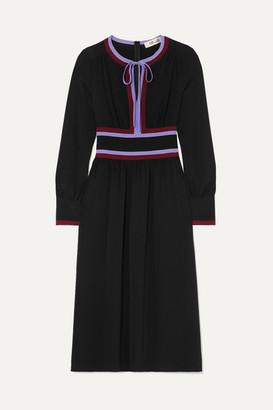 Diane von Furstenberg Cherry Striped Silk-crepe Midi Dress - Black