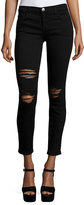 Current/Elliott The Stiletto Distressed Skinny Jeans, Black