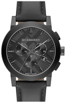 Burberry Check Stamped Chronograph Leather Strap Watch, 42mm