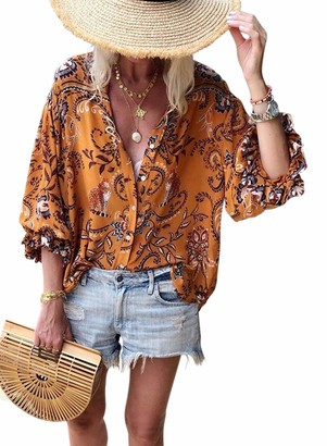 Aleumdr Womens Sexy 2019 V Neck Vivid Print Cozy Long Sleeve Button Down Color Block T Shirts Blouses Tops Multicolor Small