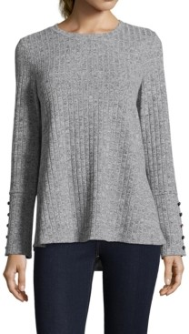 John Paul Richard Ribbed Button-Sleeve Sweater