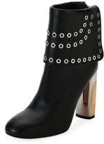 Alexander McQueen Grommet-Studded Leather Bootie, Black