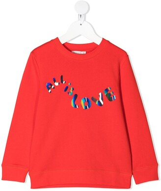 Stella McCartney Kids All is Love slogan print sweatshirt