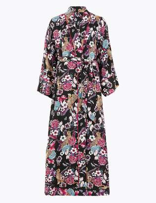 Marks and Spencer Satin Floral Long Dressing Gown