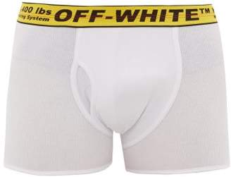 Off-White Off White Logo Jacquard Cotton Blend Boxer Briefs - Mens - White Multi