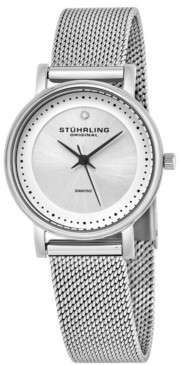 Stuhrling Original Stainless Steel Case on Mesh Bracelet, Silver Dial, With Black Accents, and Diamond At 12