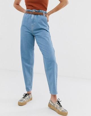 Asos Design DESIGN soft peg jeans in light vintage wash with elasticated cinched waist detail-Blue
