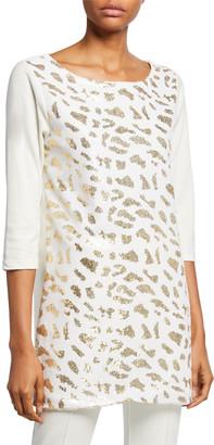 Joan Vass Plus Size Sequin Animal 3/4-Sleeve Cotton Interlock Tunic