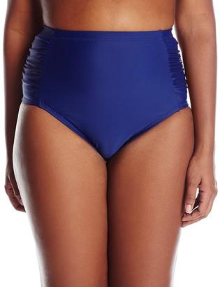 Jessica Simpson Women's Plus-Size Solid Side Shirred High Waist Bikini Bottom