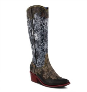 L'Artiste Women's Rodeo Tall Western Style Snake Print Narrow Calf Boots Women's Shoes