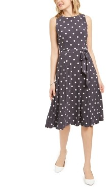 Kasper Polka-Dot Tie-Waist A-Line Midi Dress