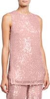 Sally LaPointe Sequined Jersey Shift Tank, Pink